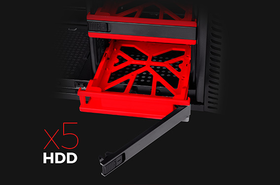 FIVE TOOL-FREE SERVED HDD BAYS